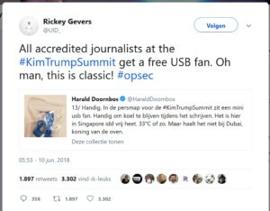 Tweet Rickey Gevers usb-fan summit trump kim